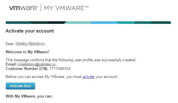 активация аккаунта VMWare