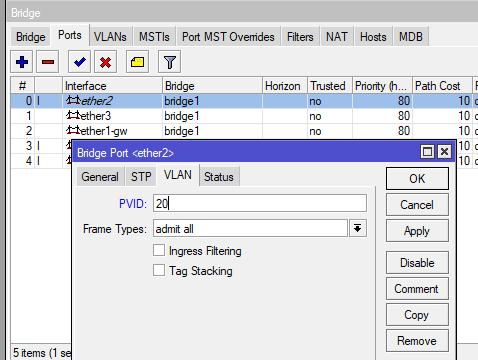 Добавление access порта с PVID в bridge