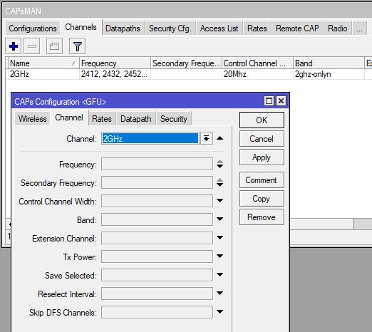 подключение шаблона Channel  в конфигурации CAPsMAN