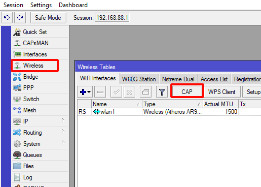 подключение WiFi точки к CAPsMAN