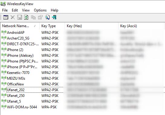 как узнать пароль от WiFi в программе WirelessKeyView