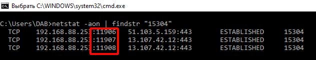 фильтр списка сетевых соединений по PID