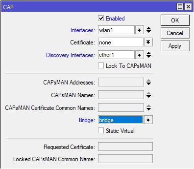 настройки для подключения точки доступа WiFi к CAPsMAN
