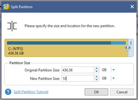 размеры новых разделов диска в Minitool Partition Wizard