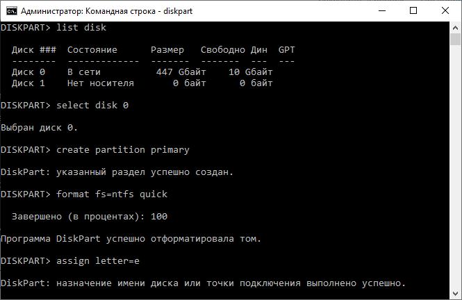 создание файловой системы в diskpart